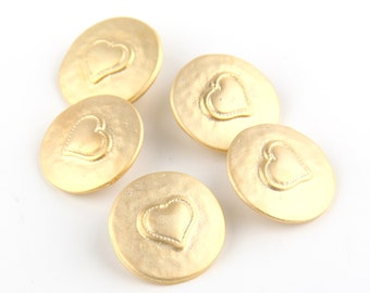 Gold Round Heart Button Beads, 19mm, 5 pieces //GB-128