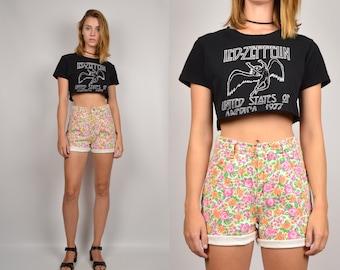 High Waisted Floral Denim Cuffed Shorts vintage