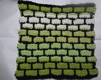 """Hand Knit Dish Cloth - Cotton - Large 8.5"""" Square - Brick Pattern - Greens and White - Black Background"""