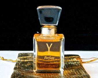 Vintage Y Yves Saint Laurent YSL Pure PERFUME 1/4 oz  Rare Crystal Stopper Full in Gift Bag