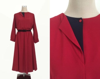 Vintage 80's Dress - Red 1980's Dress - Fink Modell Dress