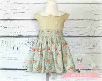 Vintage Inspired Dress, Little Girls Dresses, Toddler Dress, Girls Retro Dress, Sunday Dress OOAK Dress, Boutique Dresses, SIZE 3T