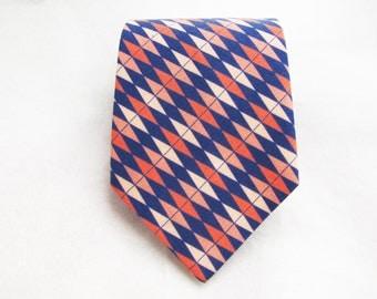 Men's Necktie - Coral & Navy Prep
