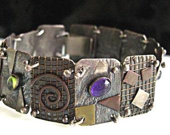 Mixed Metals Gemstone Bracelet, Sterling Modern Art Panels, 3D Brass Overlay, Amethyst, Garnet, Topaz, Peridot Cabstones