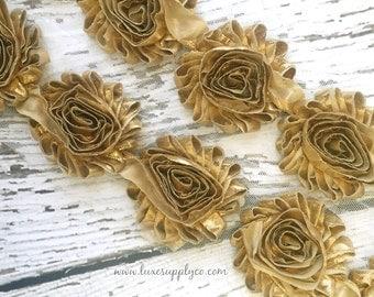 Gold Rosette Trim by the Yard - Metallic Gold - Shiny Gold Trim - Your Choice: 1/2 yard or 1 yard - Shabby Chiffon Flower Trim