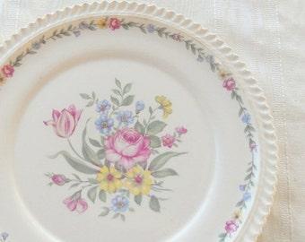 On Sale Harker Royal Gadroon Bouquet Dinner Plate, Vintage, Wedding, Cake Plate
