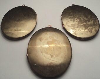 3 - Vintage large brass 46x38mm Oval Lockets - m151