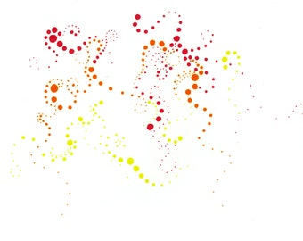 The Dot Life - Red, Orange and Yellow Dots on White Background Greeting Card 5x7