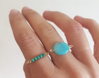 Turqupise beaded ring