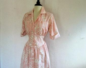 SALE//Vintage 80'sDress. Retro Vintage Dress.1980s Vintage Pink  Secretary Dress