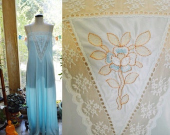 70s Lingerie Slip Dress  Vintage Lace Maxi Dress Long Blue Nightie Spaghetti Strap 70s Nightgown Gift for Her Medium Large