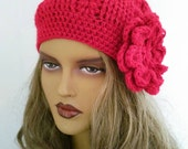 CAMPAIGN*Red Crochet Beanie Hat, Fashion Accessories-Crochet Slouchy Beanie Hat - Womens Crochet Slouch Hat - Winter Accessories