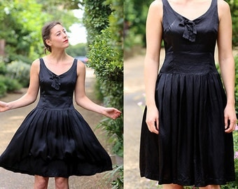 Vintage 60s Black Silk Evening Prom Occasion Party Evening Dress. Small. UK 10.