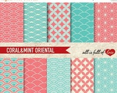 80% off Digital Graphics CORAL & MINT Japan Geometrical Patterns to Print Valentines Paper