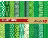 80% off GREEN Paper Pack Digital Graphics Hand Draw Instant Download