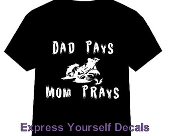 Youth Dad Pays Mom Prays Motocross Dirtbike Shirt