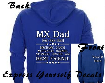 MX Dad, Best Friend Personalized Rider Number Motocross Dirt bike Shirt