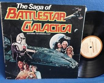 "RARE, Vintage, ""Battlestar Galactica"" The Saga Of, Soundtrack, Vinyl LP, Record Album, Stu Philips, Original Cast"
