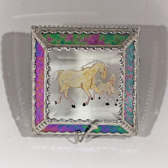 Etched Hand Painted Mare & Foal