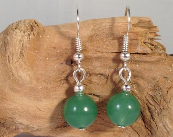 GREEN AVENTURINE Round 10mm Natural Stone EARRINGS on Nickelfree Hooks