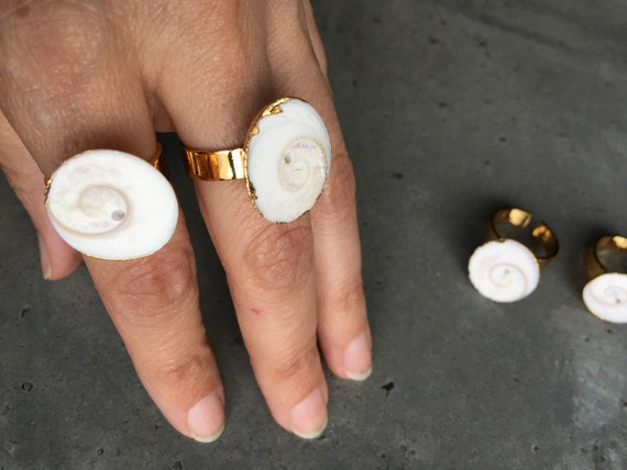 Shell rings, natural jewelry