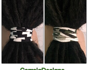 2 handmade Dread hair ties scrunchies man mens Womens unisex dread accessory stretch cotton jersey fabric hippie Irish ooak gift locs