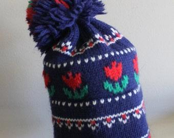 Vintage Tulip Pom Pom Knit Hat