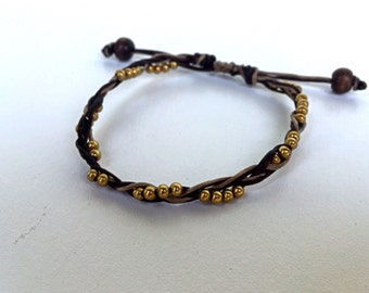 Brown/Black Waxed Linen Stackable Braid Bracelet with Brass Beads (066BE)