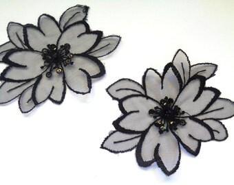 Vintage Daisy Lace Applique, Black, x 2, For Romantic, Victorian, Gothic Projects