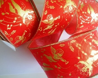 Velvet Angels Wired Ribbon, Red / Gold, 2 1/2 inch wide, 1 yard, For Gift Packing, Wreaths, Center Pieces, Home Decor, Victorian Crafts.