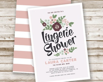Personalized Floral Lingerie Shower Invitation: Vintage, Custom, Bridal, Invite, Bra and Panty, Modern, Printable