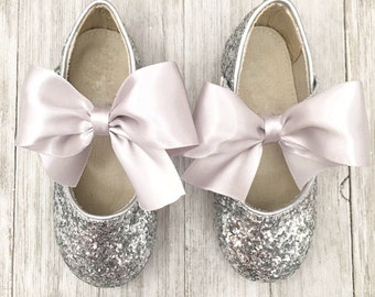 Infant girl shoes, Toddler girl shoes, Kids Girls Shoes - SILVER ROCK glitter mary-jane with SATIN ribbon bow for flower girls