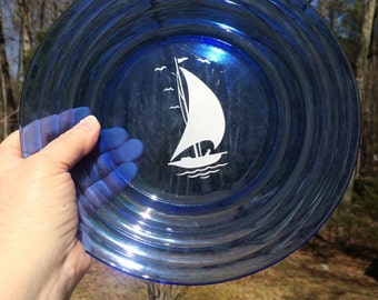 Hazel Atlas Ships Dinner Plate, Depression Glass Sailboat Plate, Vintage Nautical Decor Cobalt Blue 1950's Plate - 1 Plate