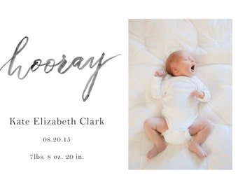 Hooray - Photo Birth Announcement Template