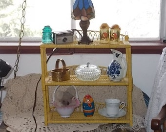 Country Mustard Colored Yellow Wicker and Rattan Wall Shelf / NOT INLUDED In Discount Or Coupon Sale