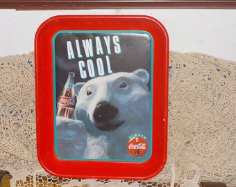 Vintage 1993 Always Cool Coca Cola Metal Tray with Polar Bear and Coke Bottle