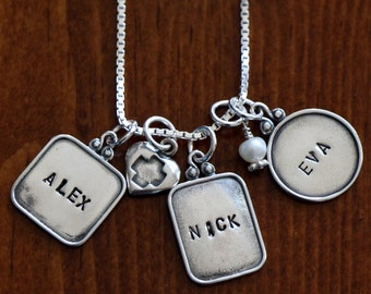 Three Raised Rim Hand Stamped Sterling Silver Charm Necklace, Personalized Mom of Three, Family Name Necklace