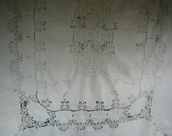 "Vintage White Battenberg Lace Bedspread, Queen-King Bed Size, 93 x 107"", Cottage Chic Style, Luxury Bedspread"