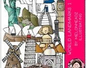 World Landmarks clip art Part 1 - COMBO PACK