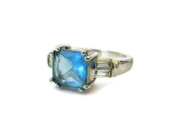 Blue Topaz Ring, Sterling Silver, Designer Signed, Danecraft, Vintage, Sz 7, Gemstone