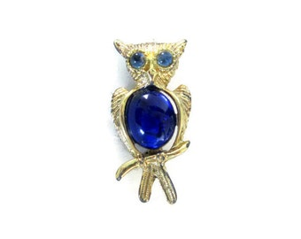 Vintage Owl Brooch, Gold Tone, Blue Jelly Belly Pin, Retro Figural Jewelry