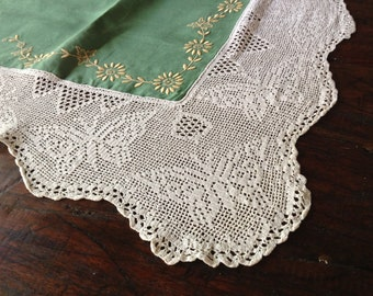 French Linen ace Crochet Tablecloth Green Hand Embroidered Butterfly Lace French Farmhouse