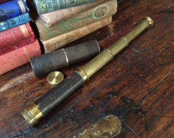 Brass Leather Telescope Nautical Sea Captain Pirate Prop ~ 4 Drawers
