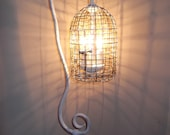 birdcage chandelier table lamp, shabby chic white, vintage light,  french country, bird cage, chandelier