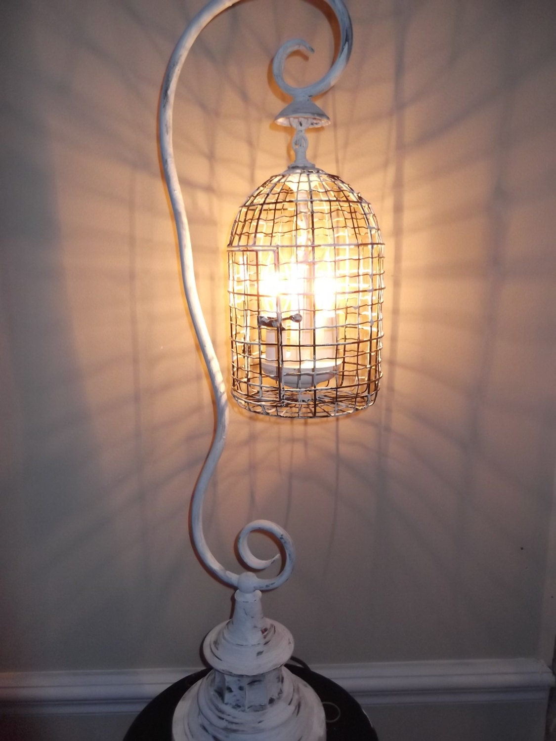 Birdcage Chandelier Table Lamp Shabby Chic White Vintage