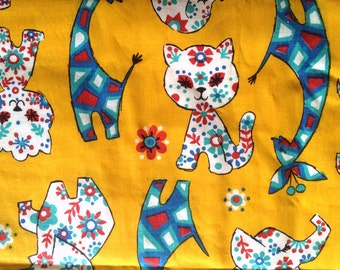 Cute Vintage Novelty Fabric Adorable Animals Daisy Flowers Kitty Cats Elephants Giraffes Puppies 50s Cotton By the Yard and Cute Bright Fun