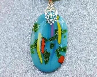 Blue Fused Glass Pendant