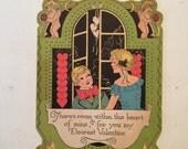 Art Deco Valentine / Vintage Retro Boy Girl Valentine w/Cherubs  die-Cut 1930's-1940's Used