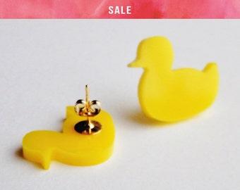 SALE Yellow Duck Studs