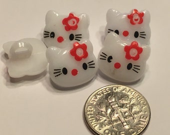 5 red bow Hello Kitty acrylic buttons, 15 mm (24)